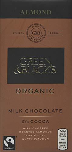 Green & Black's Organic Chopped Almond Milk Chocolate Bar, 90 g, Pack of 15