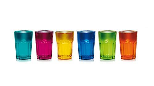 James Premium Home Trinkglas 6-er Set, 380 ml, Wasserglas, Longdrinkglas, Glas Becher, Mehrfarbig, bunt,