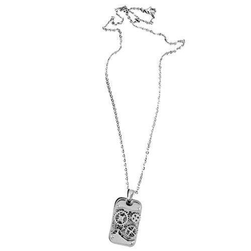 Bonarty Steampunk Acero Inoxidable ROTATABLE Reloj Gears Cogs Colgante Collar Cadena