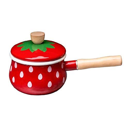 YWYW Cacerola Linda de la Leche del Esmalte Cacerola de la Nieve Wok del pote pequeño del complemento alimenticio de la manija de la Fresa