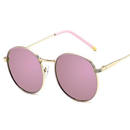 XINMAN Moda para Mujer Gafas De Sol Gafas De Sol Retro A Prueba De Viento Tendencia Gafas De Sol Anti-UV Marco Dorado Barbie Powder