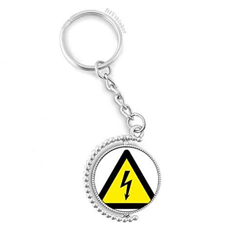 DIYthinker Symbole d'avertissement Jaune Noir Choc électrique Triangle Rotatif Porte-clé Anneau keyholder 1,2 Pouce x 3,5 Pouces Multicolore