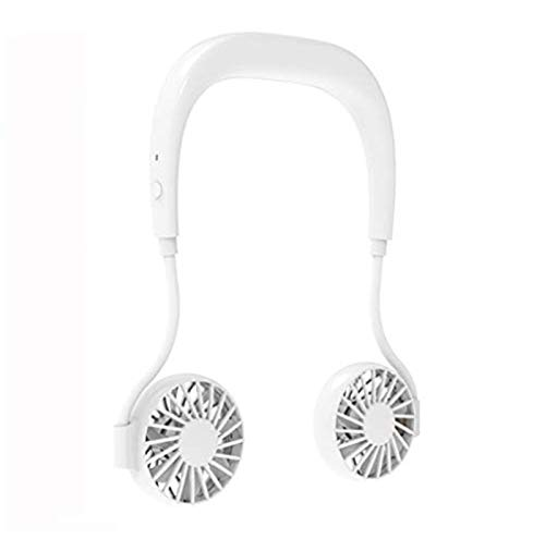 Portable Hanging Neck Sports Fan USB Rechargeable, Wearable Sports Fan Hand Free Personal Outdoor Fan with1500mAh Large Battery Capacity, 360° Free Rotation for Running Fitness Cycling (Pure White)