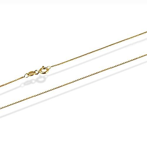 14 Karat / 585 Gold Feine Italienisch Venezianer Box Kette Gelbgold Unisex - Breite 0.75 mm - verschiedene Längen (50)