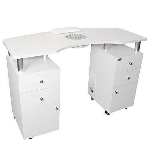 Tavolo da manicure professionale, Aspiratore 50W, con 6 cassetti per unghie,nail art, ricostruzione unghie, tavolino professionale studio estetica