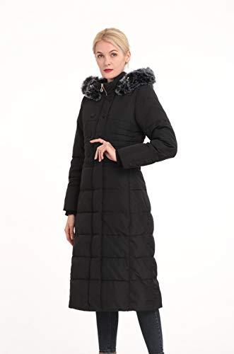 Polydeer Women's Puffer Jacket Max Long Thickened Hooded Coat Vegan Down Winter Parka (Black, S)