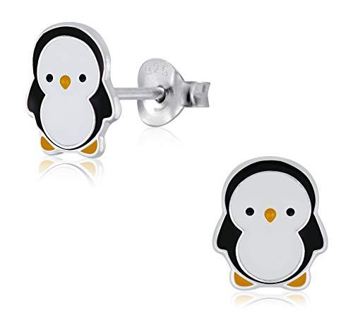 Laimons - Orecchini per bambina, a forma di pinguino, 10 mm, colore: bianco, nero, giallo, in argento Sterling 925