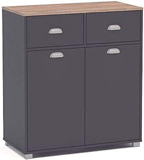 Suarez SZ Buffet bajo Cocina Asfeld Color Gris Grafito 2 Puertas 2 cajones almacenaje Mueble Auxiliar 90x80x40 cm