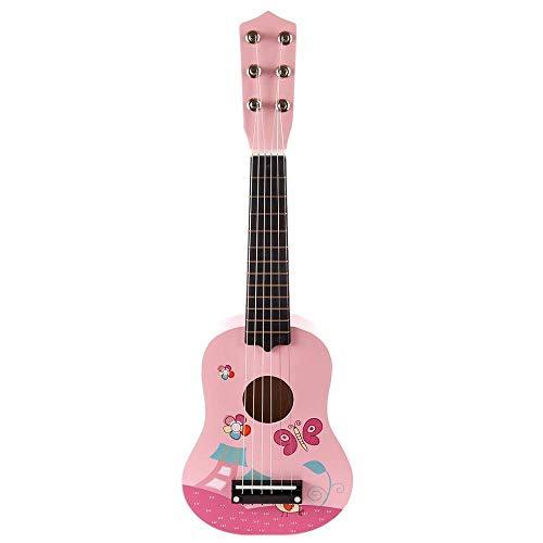 Detazhi 21 Zoll Holz Ukulele Spielzeug Für Kinder Musikinstrument Musical Spielzeug, Mini Ukulele Musikinstrumente Pädagogische Spielzeug Jungen Mädchen Geschenke (Color : Pink)