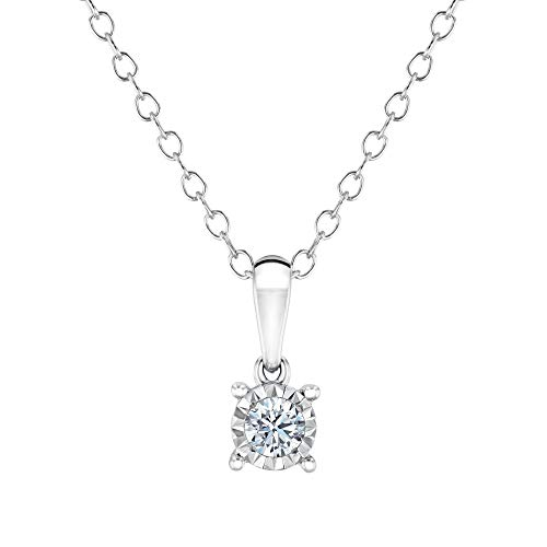 Endless Sparkle Round Diamond Solitaire Pendant Necklace 1/10ct