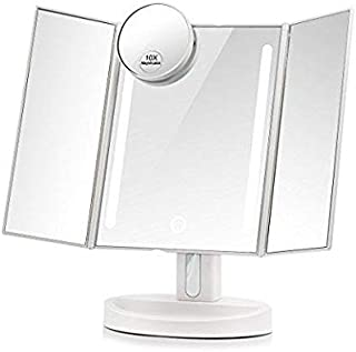 Lighted Makeup Mirror, Natural Led Light With 10x Magnifying Spot Mirror Countertop Cosmetic Makeup Mirror