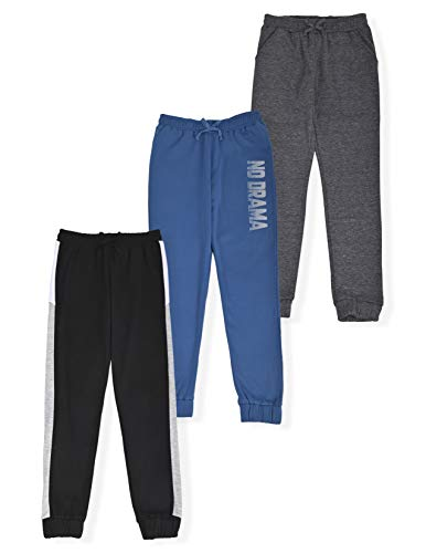 Star Ride Girls 3-Pack Fleece Active Jogger Sweatpants Kids Clothes for Athletic Fashion and Casual Wear (Black-Blue-Charcoal, 7/8)