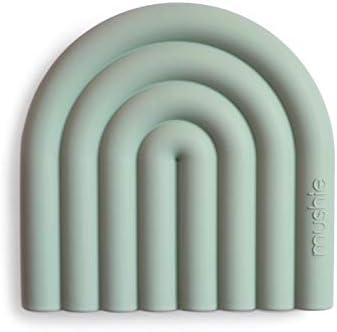 mushie Silicone Baby Teether Toy Rainbow Cambridge Blue product image