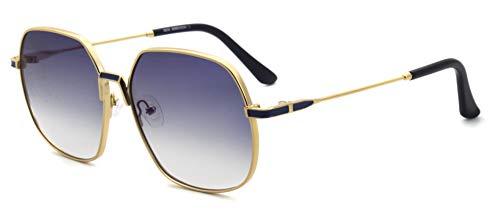 MOSTAR Estilo inspirado en el diseñador, gran marco cuadrado dorado con lentes de sol de metal en gris degradado para hombres, mujeres
