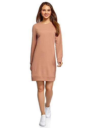 oodji Ultra Damen Kleid Basic im Sport-Stil, Beige, XXS