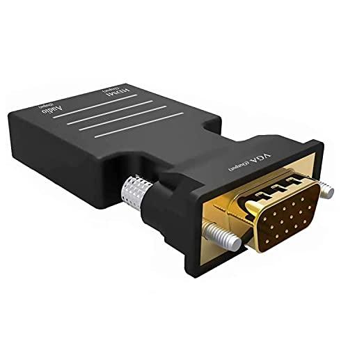 Adaptador HDMI a VGA, Adaptador HDMI Hembra a VGA Macho con Audio de 3.5 mm HD 1080P para computadora, computadora portátil,Google Chromecast, Monitor, proyector, HDTV, Plug and Play
