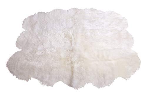 Naturasan Schafsfell Lammfell Teppich Decke aus 6 Fellen Weiss, Flokati, Shaggy, SCHAFFELLTEPPICH Schaffell Teppich Weiss (aus 6 Fellen)