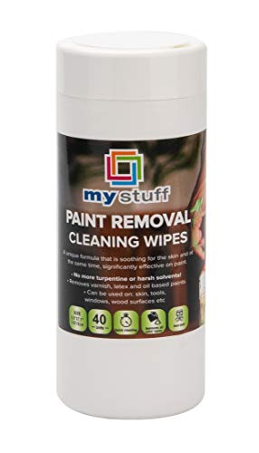 My Stuff Paint Removal Cleaning Wipes, Turpentine-Free Formula, Varnish, Oil, Latex Paint Removing Cloths, Non-Toxic, 40-ct.