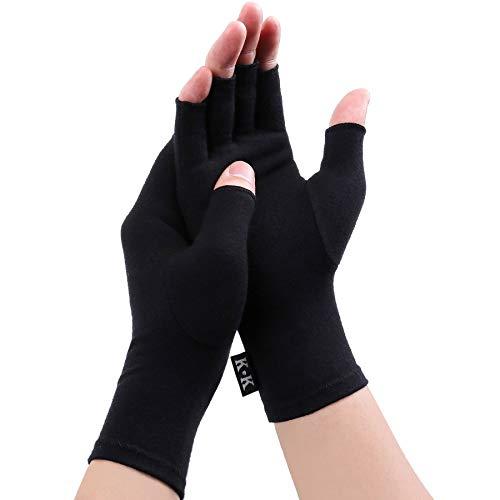 Digitek Guantes reumatoides de compresión sin dedos para aliviar el dolor - Guante de mano Rehabilitación Aliviar el dolor Trabajo diario para Unisex Adultos [Pequeña -Negro]