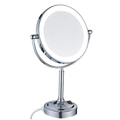 LLLKKK Espejo especial para maquillaje, 8 pulgadas, espejo de maquillaje de doble cara con iluminación LED de latón ajustable con interruptor, conector cromado, 7 aumentos.