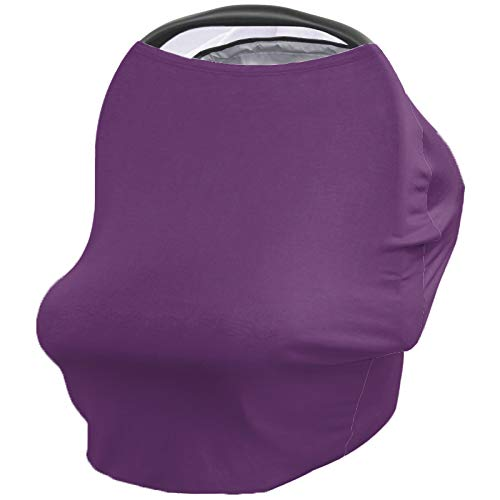 Baby Car Seat Nursing Cover for Breastfeeding Scarf, Purple Lavender, Ultra Soft Breastfeeding Covers Poncho Canopy for Boy Girl, Infant Stroller Cover, Solid
