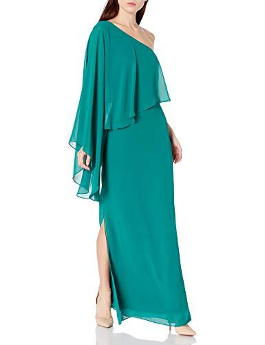 Laundry by Shelli Segal Damen Women's One Shoulder Popover Gown Formales Abendkleid, smaragdgrün, 30