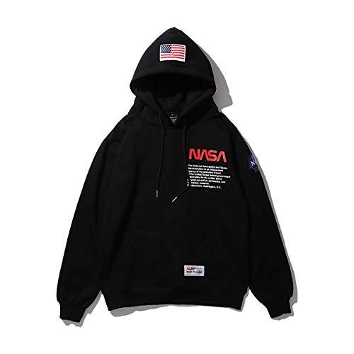 Herren NASA Logo Hoodie mit Kangaroo Pocket Unisex Damen lose Baumwolle Weiß/Schwarz Kapuzenpullover,Black,XL
