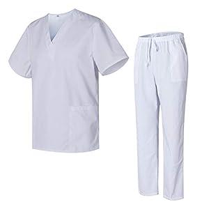 Uniformes Uno Médico Unisex con Casaca y Pantalones Sanitarios 301-501 - S, Blanco