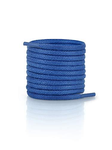 FORMATA Cordones redondos encerados para zapatos de traje, de cuero, muy resistentes, 3 mm de ancho, color azul, longitud 110 cm
