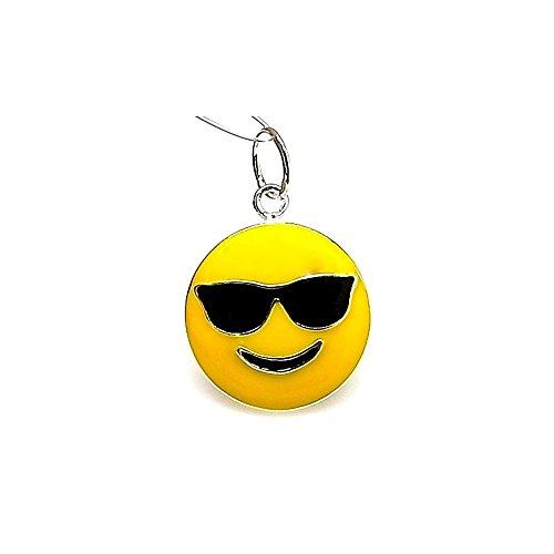 Colgante plata ley 925m 22mm. emoticono gafas sol esmaltado [AA8204]