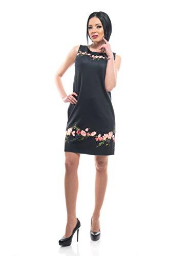 My Magenta korte damesjurk met bloemenprint | opvallende zomerjurk met ronde hals-kraag | zonder mouwen | hoogwaardige polyester stof | Trend 2018 | vrijetijdsjurk voor lente & herfst