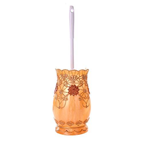 Cepillo de inodoro de mango largo Diseño floral de estilo europeo Escobilla de baño y el soporte de inodoro de limpieza del sistema de cepillo debajo del borde del cepillo del labio Cepillo de limpiez