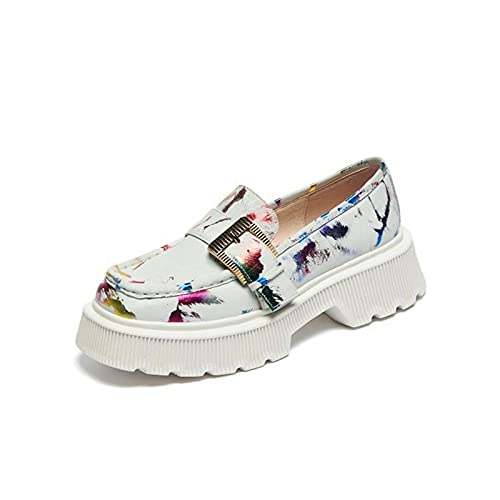 Zapatos de Mocasines para Mujer Plataforma Loafers Casual Zapatos de Conducción,Blanco,36 EU