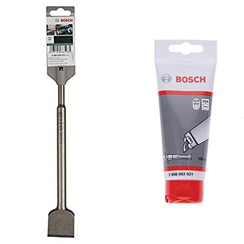 Bosch 2 609 255 571 - Cincel para azulejos SDS-plus + Tubo de Grasa lubricante para Taladro Plus y SDS MAX (100 ml)