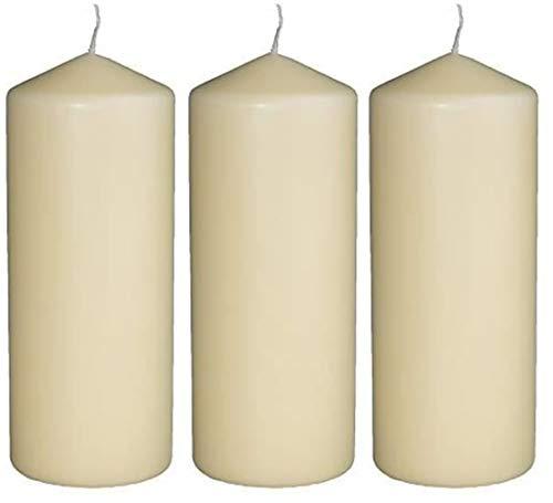 DRYPAK Stumpenkerzen 7 X 15 cm - 3er Pack - je 45 Stunden Brenndauer - weiß, unparfümiert, cremeweiß, Stumpen Kerzen