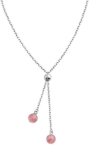 Yiffshunl Collar Collares Collar con Colgante de Color Plateado de Cristal de Fresa Fresca para Mujer Joyería cumpleaños o Vacaciones para Mujeres y niñas Regalos