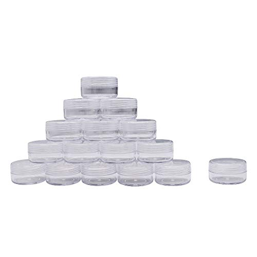 Healthcom 50 Pieces 10 Gram Empty Plastic Cosmetic Containers Clear Round Sample Pot Jar Screw Cap Lid For Jewelry Lip Balm Eye Shadow Nail Powder Creams Lotions-BPA Free Travel Makeup Samples Storage