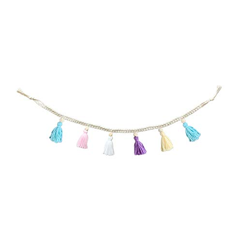 S-TROUBLE Nordic Kids Baby Room Decor Cotton Rope Wooden Bead Garland with Tassel Wall Hanging Nursery Props Ornament