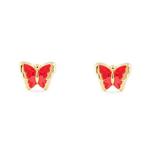 Orecchini per bambini rossa farfalla - oro giallo 18k (750)