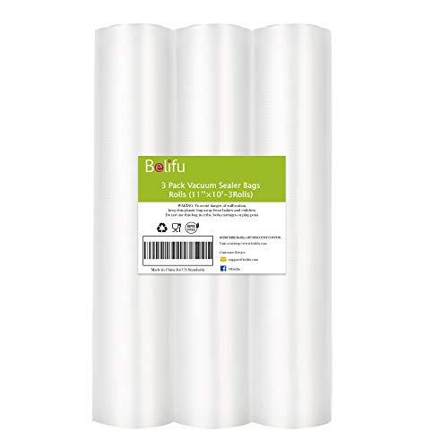 Belifu Vakuumierfolie Vakuumierbeutel (3er Pack), 28 x 300 cm Lebensmittel Vakuumrollen, BPA Freie Folienrollen Kompatibel mit Vakuumiergerät Vakuumierer, Sous Vide Gefrierbeutel (Total 9 m)