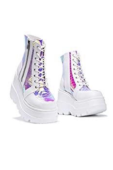 Cape Robbin Radio Holographic Platform Ankle Boots with Chunky Block Heels for Women - White Size 9