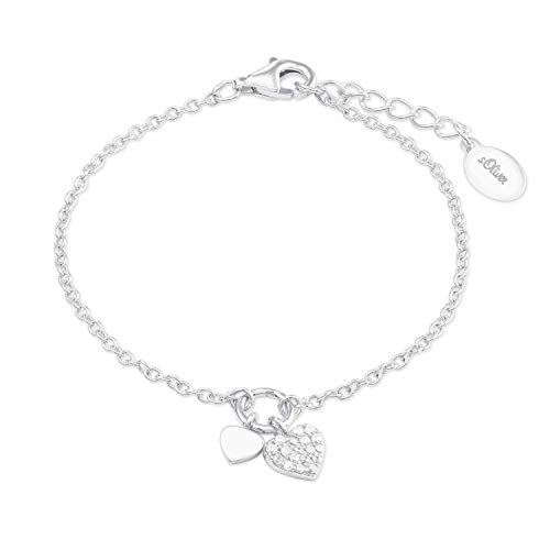 s.Oliver Armkette für Mädchen, Sterling Silber 925, Zirkonia Herz