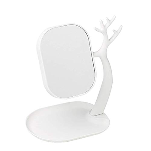 SCDHZP Miroir de Maquillage - Antler Type de Recto-Verso Simple Miroir de Stockage Princesse Miroir Mode Portable Cute Girl Coeur d'un Grand Miroir (Color : B)