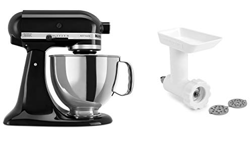 KitchenAid KSM150GBQOB Artisan Tilt-Head Stand Mixer with Food Grinder Attachment, Onyx Black
