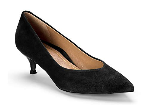 Vionic Women's Kit Josie Kitten Heels - Ladies Pumps with Concealed Orthotic Arch Support Black Suede 7.5 Medium US