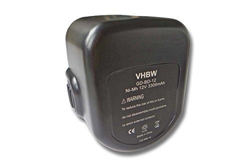 vhbw Batería reemplaza Black & Decker A9252, A9266, A9275, PS130, PS130A para herramientas eléctricas (3000mAh NiMH 12V)