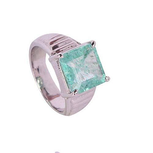 Anillo de esmeralda verde colombiano 100% Natural Anillo de plata de mayo 925 piedra esterlina de mayo