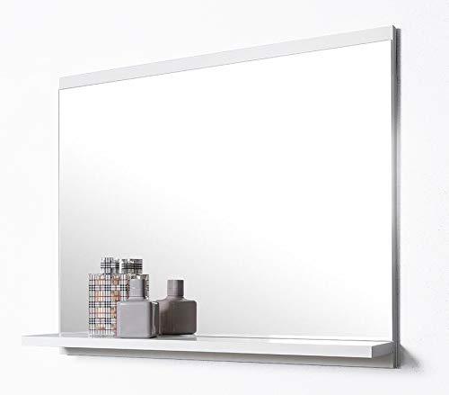 DOMTECH Badspiegel mit Ablage, Weiß Badezimmer Spiegel, Wandspiegel, Badezimmerspiegel