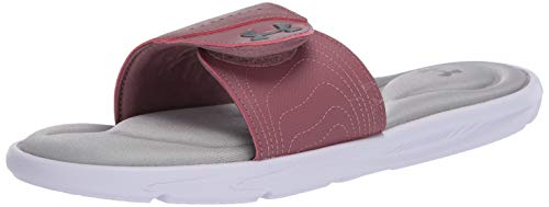 Under Armour Women's Ignite IX SL Slide Sandal, White (102)/Hushed Pink, 6 M US