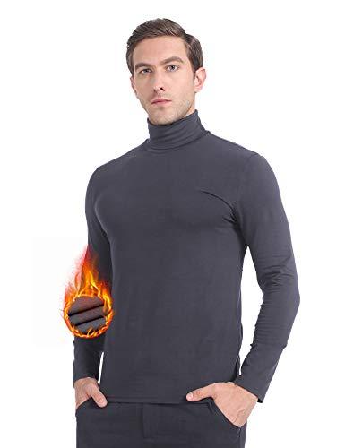 MANCYFIT Men's Thermal Tops Turtleneck Shirt Fleece Lined Undershirt Long Sleeve Base Layer Pullover Charcoal Large